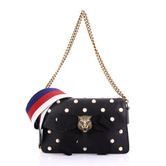 Gucci Broadway Pearly Bee Shoulder Bag Embellished Leather 391113
