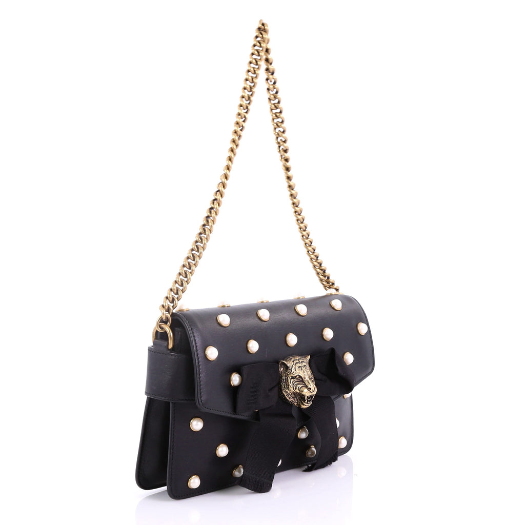 68d07f151c5 Gucci Broadway Pearly Bee Shoulder Bag Embellished Leather 391113 ...