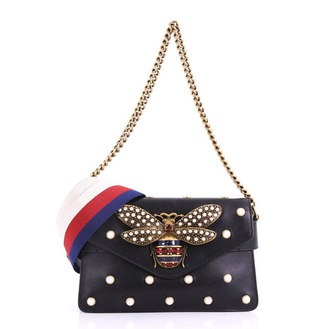 15904e2e0c8 Gucci Broadway Pearly Bee Shoulder Bag Embellished Leather 391115 – Rebag
