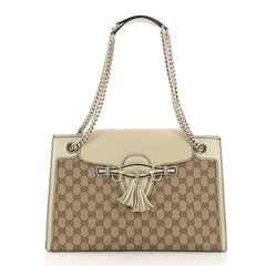 959fa576f9f3 Gucci Emily Chain Flap Shoulder Bag GG Canvas Large Brown 391255