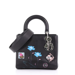 Christian Dior Lady Dior Handbag Patch Embellished Leather 3913810