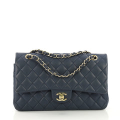 Chanel Classic Double Flap Bag Quilted Lambskin Medium Blue 3913819