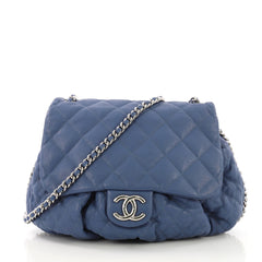 Chanel Chain Around Flap Bag Quilted Leather Large Blue 3913823