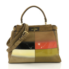 Fendi Color Block Peekaboo Handbag Patent and Suede Regular 391388