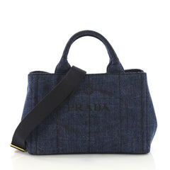 Prada Canapa Convertible Tote Denim Mini Blue 3914920