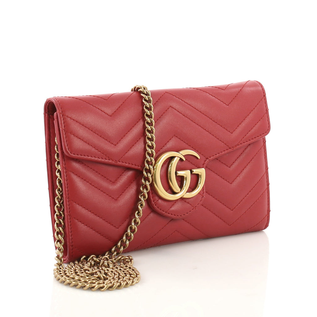 c65d1710c56 Gucci GG Marmont Chain Wallet Matelasse Leather Mini Red 3914924 – Rebag