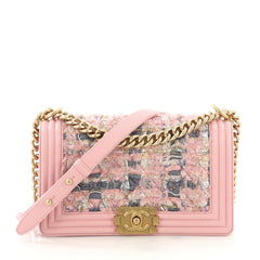 Chanel Boy Flap Bag Tweed and Leather Old Medium Pink 3914949