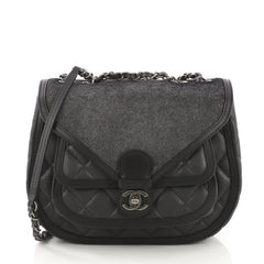 Chanel Saddle Bag Quilted Calfskin and Pony Hair Medium Black 3914957