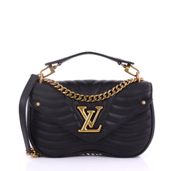 Louis Vuitton New Wave Chain Bag Quilted Leather MM Black 391741