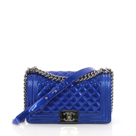 b525f53ac68a Chanel Boy Flap Bag Quilted Patent Old Medium Blue 391832 – Rebag