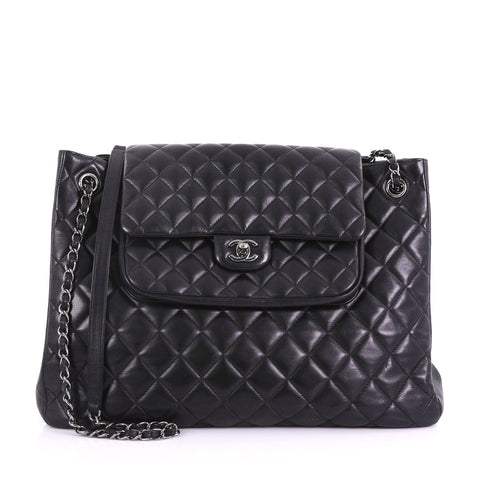 d0c89ea1cdaa Chanel Classic Flap Shopping Tote Quilted Lambskin Large Black – Rebag