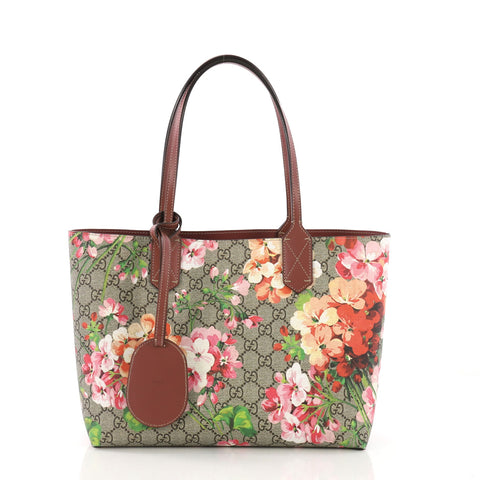 f67c38a68a0 Gucci Reversible Tote Blooms GG Print Leather Small Neutral 392227 – Rebag