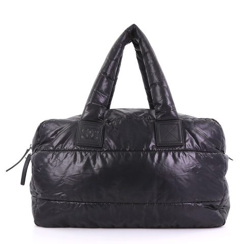 4dd864826107 Chanel Coco Cocoon Bowling Bag Quilted Nylon Large Black – Rebag