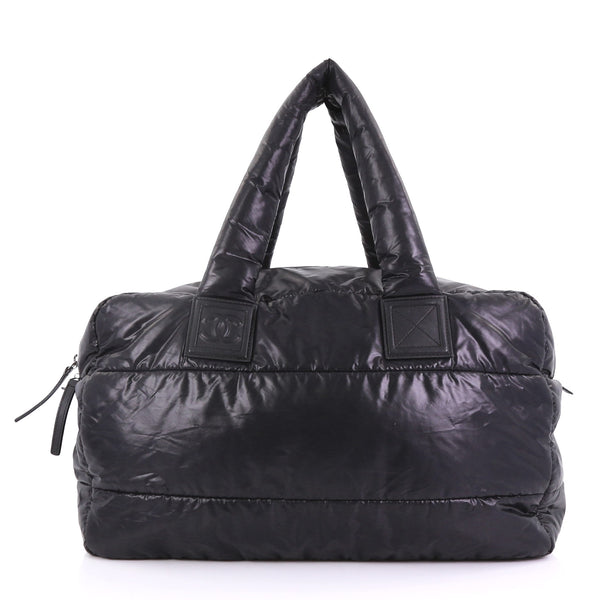 dd61883b49d3 Chanel Coco Cocoon Bowling Bag Quilted Nylon Large Black – Rebag