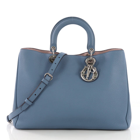 fd3627d12 Christian Dior Diorissimo Tote Pebbled Leather Large Blue 3922410 – Rebag