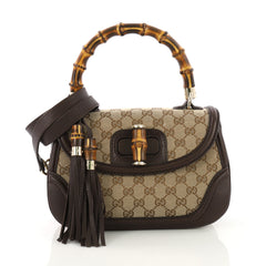 Gucci New Bamboo Top Handle Bag GG Canvas Medium Brown 392255