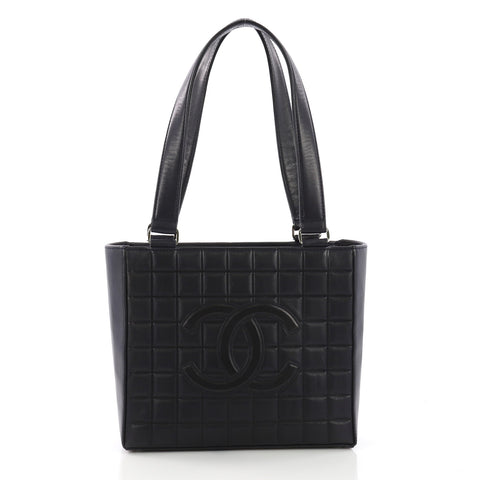 9a15028f966a Chanel Chocolate Bar CC Tote Quilted Leather Small Blue 392611 – Rebag