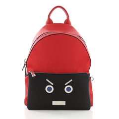 Fendi Faces Backpack Nylon and Leather Red 392861