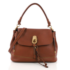 Chloe Owen Flap Bag Leather Small Brown 393041