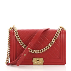 Chanel Boy Flap Bag Quilted Lambskin New Medium Red 393252