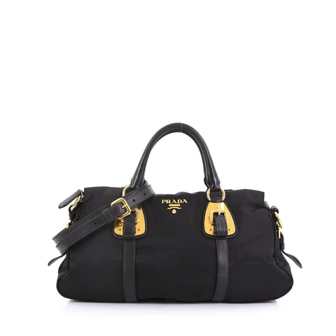 30e86ff5a0fb Prada Convertible Belted Satchel Tessuto with Leather Large Black – Rebag