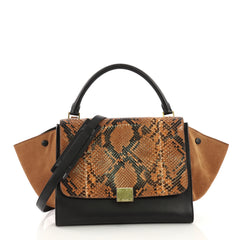 Celine Trapeze Handbag Python Medium Brown 3935914