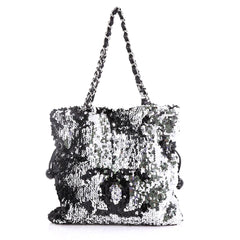 Chanel Summer Night Drawstring Tote Sequins Medium Black 393592