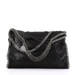 Stella McCartney Falabella Fold Over Bag Shaggy Deer Black 3936302