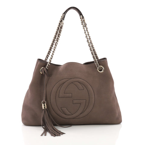 0e1380735 Gucci Soho Chain Strap Shoulder Bag Nubuck Medium Brown 3936303 – Rebag
