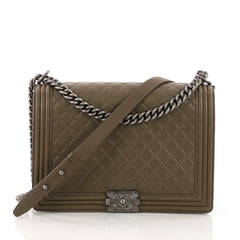 Chanel Boy Flap Bag Quilted Lambskin Large Green 3940024