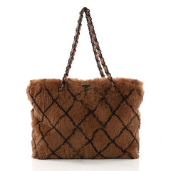 Chanel Vintage CC Chain Tote Printed Lapin Fur Medium Brown 3940079