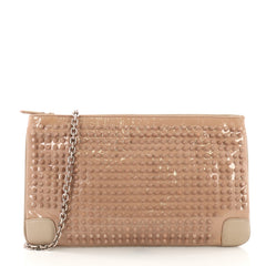 Christian Louboutin Loubiposh Clutch Spiked Patent Neutral 394381