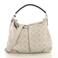 Louis Vuitton Selene Handbag Mahina Leather PM Gray 3947411