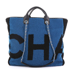 Chanel Logo Shopping Tote Printed Shearling Large Blue 394742