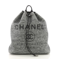 Chanel Deauville Backpack Raffia Large Gray 394743