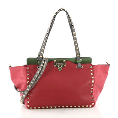 Valentino Colorblock Rockstud Tote Soft Leather Small Green 394747