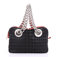 Prada City Fori Chain Shoulder Bag Perforated Calfskin Small Black