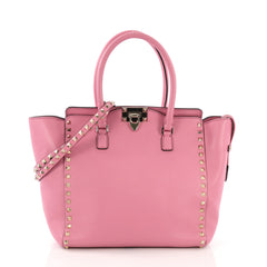 Valentino Rockstud Tote Rigid Leather Medium Pink