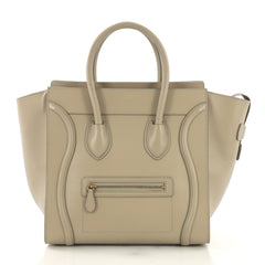 Celine Luggage Handbag Smooth Leather Mini Neutral 3950345