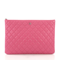 Chanel O Case Clutch Quilted Caviar Large Pink 3950366