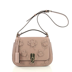 Valentino Piper Satchel Embellished Leather Pink 395051