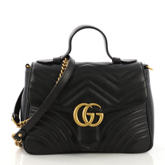 c874f9b507ab Gucci GG Marmont Top Handle Flap Bag Matelasse Leather Small 395111