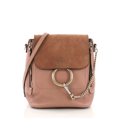 Chloe Faye Backpack Leather and Suede Small Neutral 395132