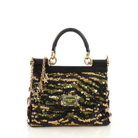 a41cb7825af9 Dolce   Gabbana Miss Sicily Handbag Sequins Small Black 395142 – Rebag