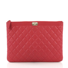 Chanel Boy O Case Clutch Quilted Lambskin Medium Red 395145