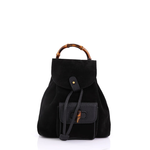 f36177a24d1 Gucci Vintage Bamboo Backpack Suede Mini Black 39515109 – Rebag