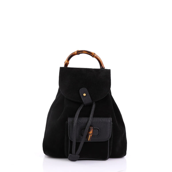 ade7e09bc5bb Gucci Vintage Bamboo Backpack Suede Mini Black 39515109 – Rebag