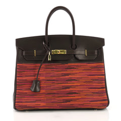 Hermes Birkin Handbag Vibrato and Box Calf 35 Brown 3951510