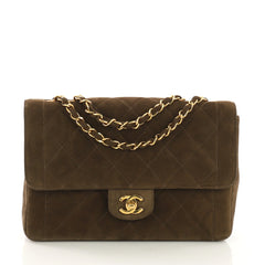 Chanel Vintage CC Chain Flap Bag Quilted Suede Medium Green