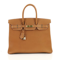 Hermes Birkin Handbag Brown Ardennes with Gold Hardware 35 395151